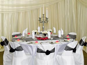5 Stick Silver Candelabra and White Embossed
