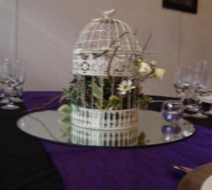 Birdcage with flowers on Mirror