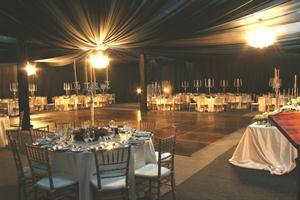 Black Draping with Crystal Chandeliers