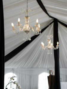 Black and White Draping with Crystal Chandeliers Close Up