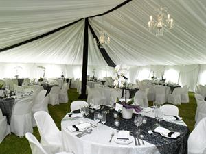 Black and White Draping with Crystal Chandeliers
