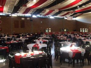 Black, red & white draping with fairy lights