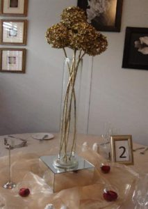 Champagne Tablecloth with Gold Organza Overlay - Spaghetti vase