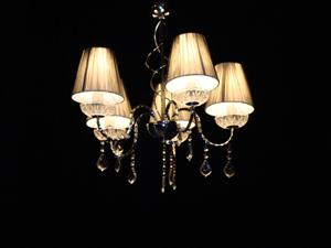 Chandelier with silver lamp shades - for marquee