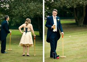 Croquet - bestman and bridesmaid playing