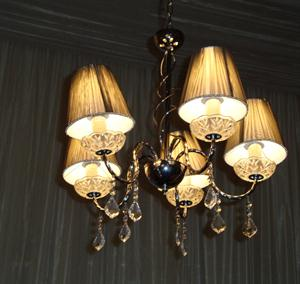 Crystal Chandelier with Silver Lamp Shades