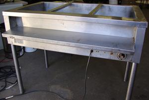 Electric 3 division Bain Marie with legs also as a Table Model 67 x 110 cm x 88 cm high