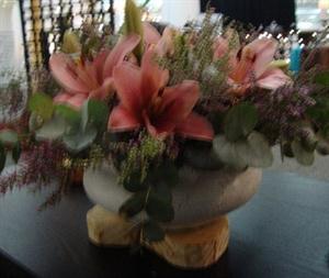 Fleur de Lys vase with flowers