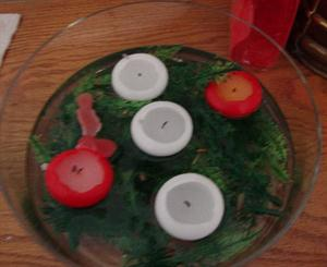 Floating candles in a Round Glass Vase 25cm x 10cm high