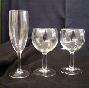 Fluted Champagne Glass, Red Wine Glass, White Wine Glass