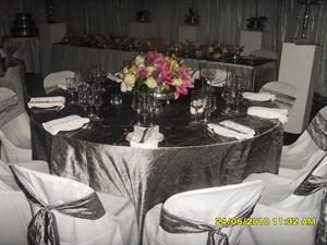 Gunmetal cloths with Silver Rose Bowl