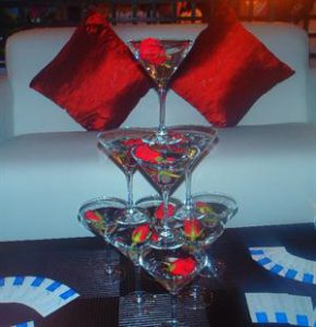 Martini Glass Tower with Red Roses