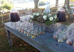 Mason jars with Pimms Juice Dispenser
