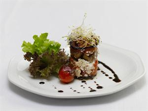 Mille-feuille of Oven-dried Tomato, Grilled Mushrooms and Aubergine with a Balsamic Reduction