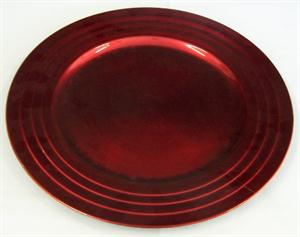Red Under Plate with line pattern