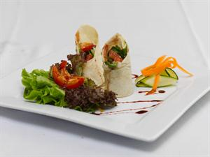Roast Veg Julienne Wrap served with Balsamic and Pesto Reduction