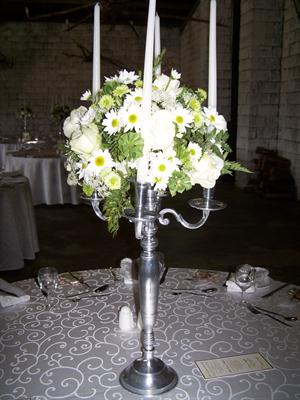 Silver Candelabra with White Flowers
