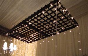Trellis suspended from the ceiling with fairy lights