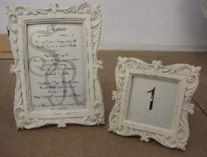 Victorian menu and table number frames