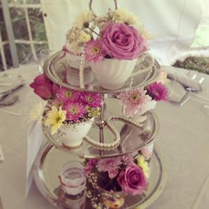 Vintage setting - 3 tier cake stand with flowers and pearls
