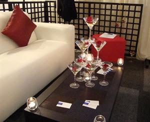 White Couch, Coffee Table and Martini Glass Tower