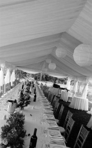 White Draping with Paper Lanterns