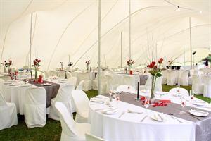 White & Red Wedding - White Butchers Linen, Gun Metal Grey Runners, Cepage Glassware, Dubarry Cutlery & F600 Crockery.