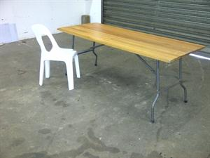 Wooden Treslt Table and Ancona Chair
