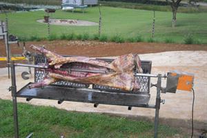 Spit braai - lamb cooking
