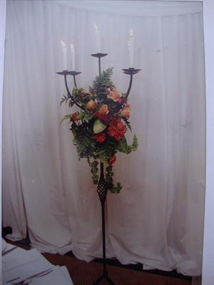 Floorstanding Wrought Iron 5 Candelstick