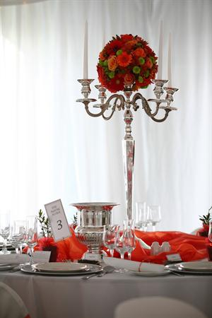Silver Candelabra with Orange Flowers