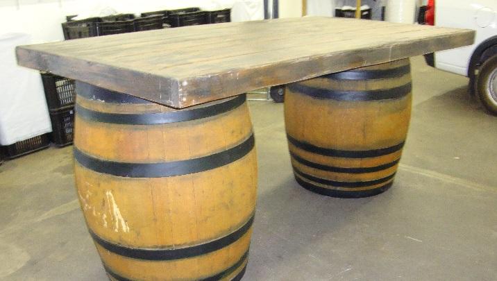 Wine barrels and serving top