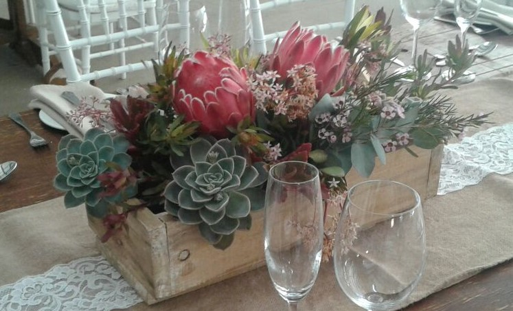 Wooden bow with proteas & succulents