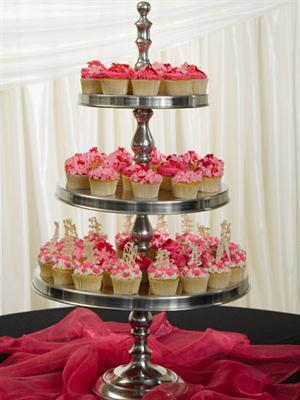 3 Tier aluminium cake stand - cupcakes displayed