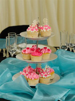 3 Tier white cake stand - cupcakes displayed