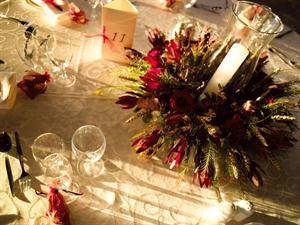 Green & red centerpiece with candle