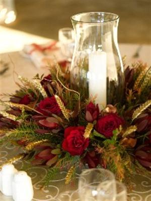 Hurricane lamp used as centrepiece