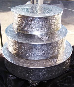 Silver ornate cake stands