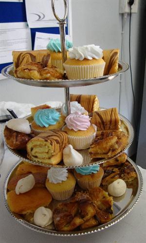 Tea time treats on 3 tier cake stand