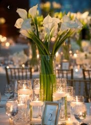 Cylinder vases with candles & lilys